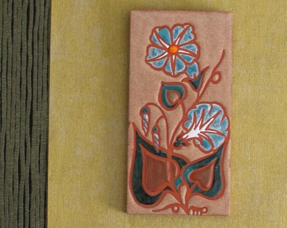 Céramique d'art, carreau de céramique émaillée, carrelage vintage, Azema - Fleurs céramique - Céramiste d'art