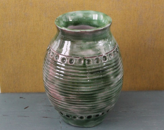 "Vintage green vase, 6"" tall, enamelled terracotta"
