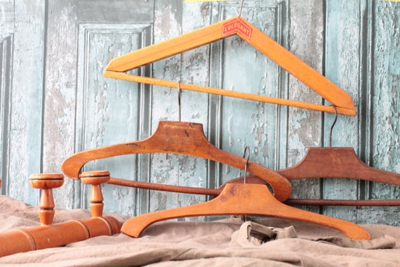 5 Antique French hangers in natural wood and metal hook, for antique decor, dressing, staging, creative leisure,