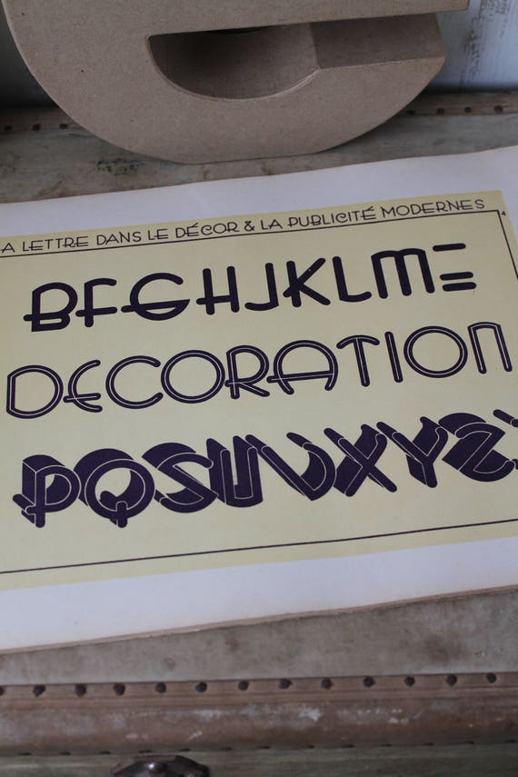 """Rare original poster Letters DRAIN from a vintage professional book """"THE LETTER in the modern decor and Advertising"""""""