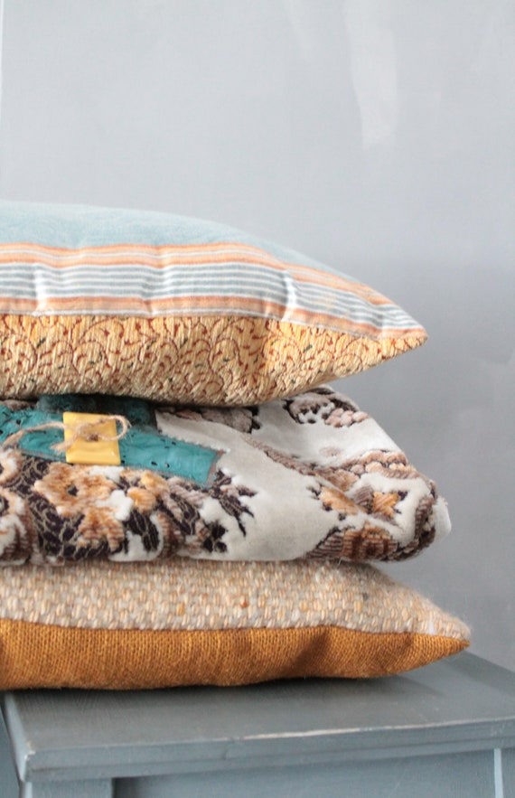 Rectangular cushions made of french vintage fine fabric - double sided - COUS160627 / 28