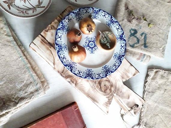 Vieillard Bordeaux antique plate, Rouen plate, blue and white, 25.4 cm, plate on transfer, AST191806