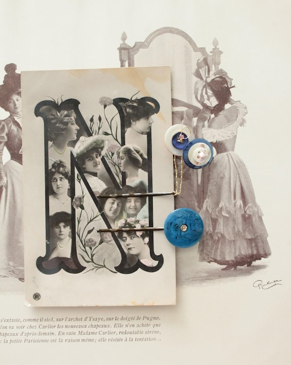 Hair on 1907 postcard Barrettes, hair, vintage buttons, mother of Pearl buttons, hair barrette clip