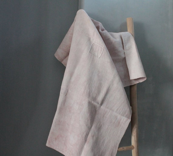 Old coloured tablecloth in natural hand dye, pink tablecloth, linen table linen, NP201904