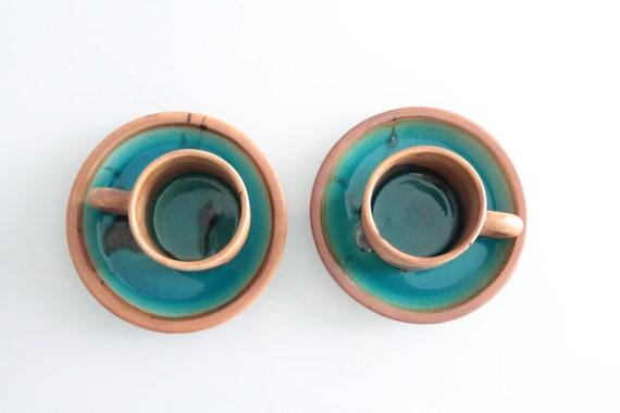 Service à café en grès émaillée, Poterie de la Colombe, poterie française vintage, SCAF181359