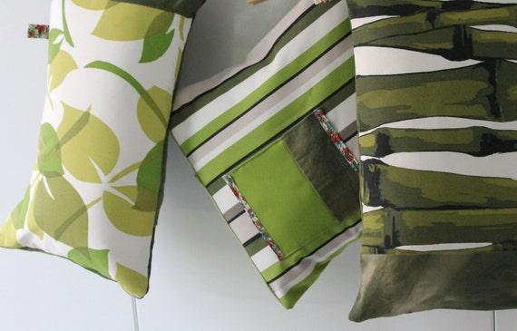 3 coussins verts, tissus d'éditeur, Fabriqués en France par mes soins, création unique, COUS150123