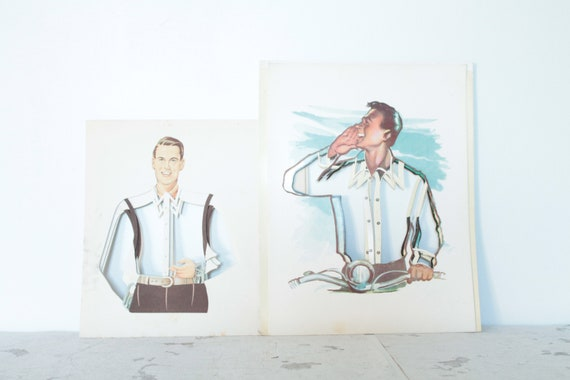 2 French vintage store posters, for presentation of men's shirts, commercial illustration, ILL171290