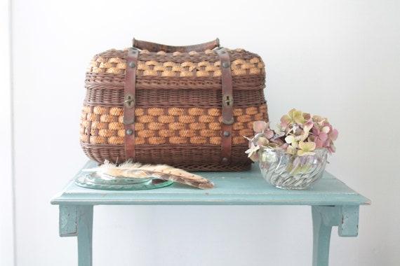 Old French wicker basket, basket handbag, Old wicker bag, French Vannerie, VAN181544