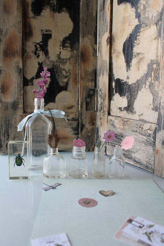 Pretty small bottles, old bottles, small vases, pharmacy bottle, old glassware, VER191748