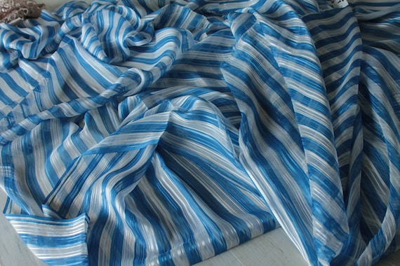 Blue and white striped silk, Bianchini Férier, vintage silk fashion house, luxury vintage fabric, TIS191887