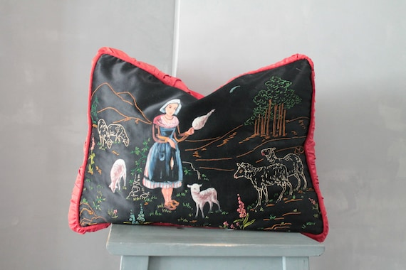 French vintage cushion, hand painted and embroidered silk, for a chic cottage decor, COUS181448