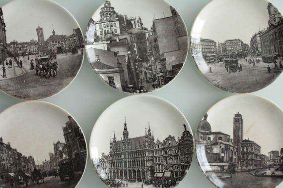 6 antique french dinnerplates from Choisy-Le-Roi, white and grey, for a shabby chic dinner.