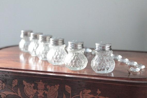 6 Vintage molded glass salerons, French Christallerie, vintage individual salt shaker, miniature pepper shaker, tableware,