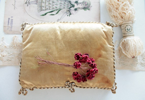 Gold Silk Cushion, Antique wedding Cushion, Lacemaker Cushion, antique pochette, wedding ring cushion