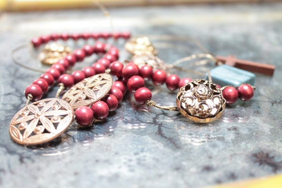 Handmade catholic rosary with antique buttons, red wooden beads, wooden credo, ceramic bead, Christ rosary,