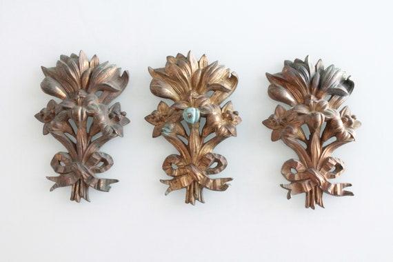 3 French antique bronze ornaments, art nouveau, 1900, 19th century, door decor, antique decor, bourgeois decor, BR181342