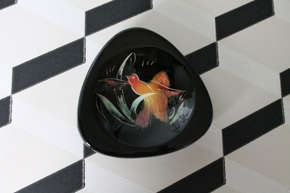 Vintage black ceramic with a bird - MONACERA MONACO