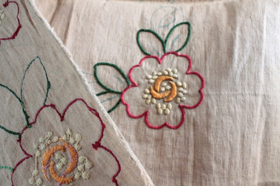Vintage embroidered curtain on burlap, floral curtain, embroidered curtain, embroidered panel, RID181484