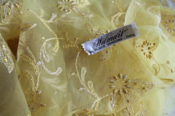 Embroidered voile fabric, Wilmart 25 Place Vendôme, evening dress fabric, high fashion fabric, 325x108cm, TIS191794