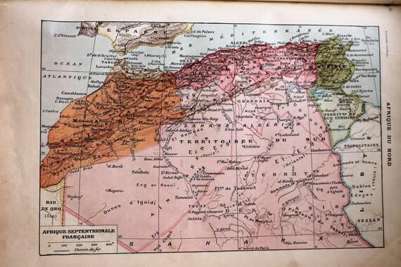 Illustration  provenant d'un Larousse ancien 1925 - Page Larousse 20X29 cm, Affiche ancienne, Afrique du Nord