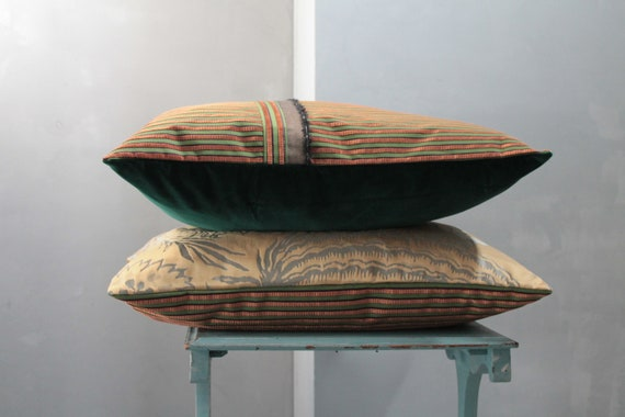 Green and gold velvet cushion, bohemian chic pillow, unique cushion, gift for her, velvet upholstery, COUS191876