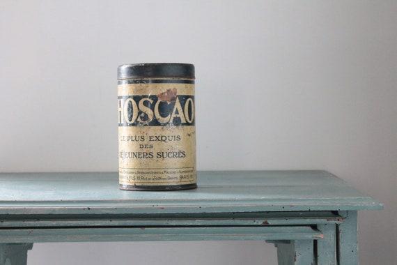 """Boite ancienne en métal Phoscao, boite Chocolat en poudre, boites rares, 17.5 cm - 7"""", BOIT181599"""