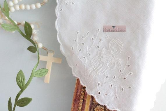 Bavoir en lin brodé pour bébé, serviettes de table pour bébé, protection pour repas, set de table baptême, ENF181499