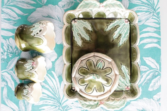 Smoking set, old ceramic green pots, green barbotine, ceramic toilet set, Orchies France, CERA181422