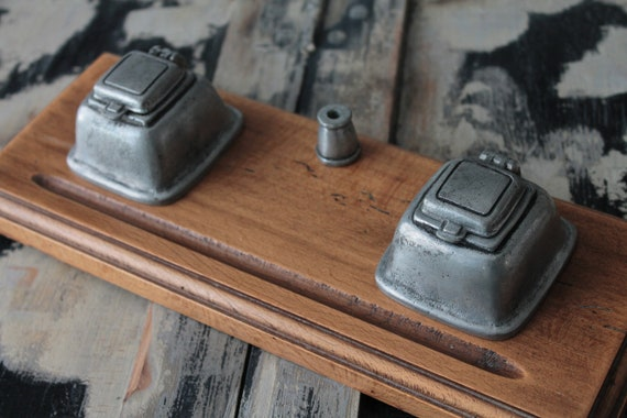 Old French Inkwell, wooden inkstand and white iron, old pen, old office desk, writing box, ENC191784