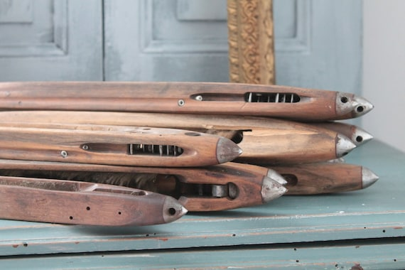 10 old French weaving shuttles, antique craft, weaver's wood object, BOIS191847