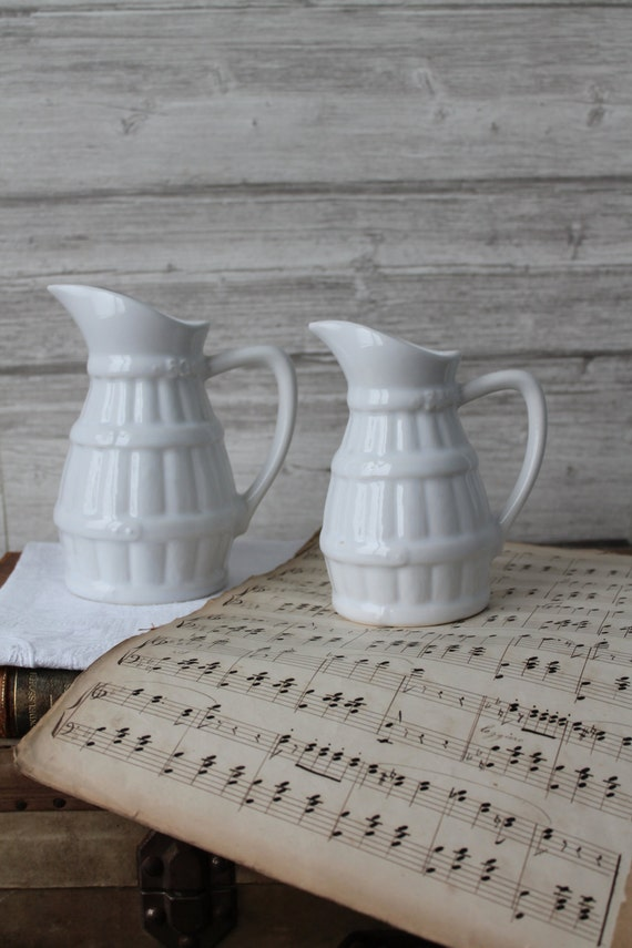 1 French antique pitchers in white ceramic, French coffee carafes, circa 1960, Vintage crockery - Pitcher 33cl, 50 cl, PCH160651
