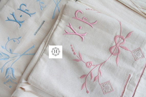 Antique french linen embroidered sheet, mixed hemp and linen, antique french linen, shabby chic decor,antique tablecloth, DP191713
