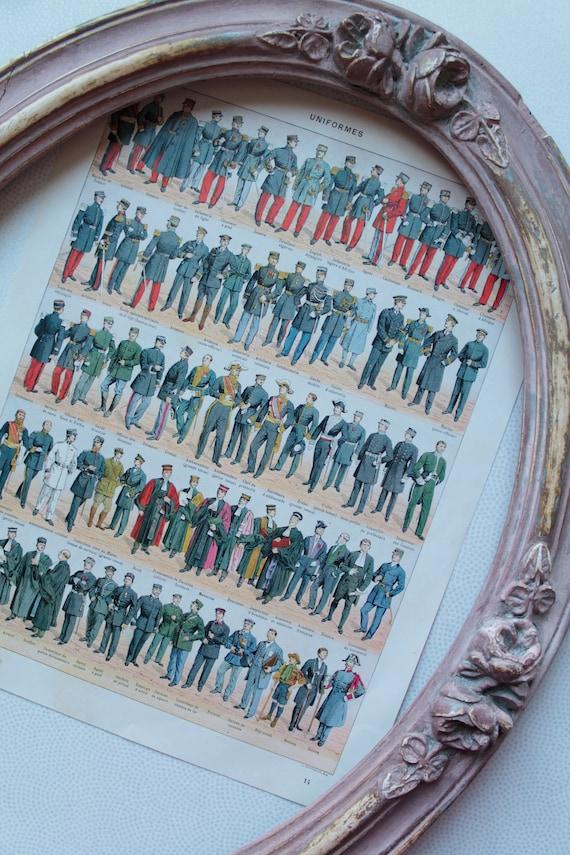Illustration ancienne Les Uniformes français, Dictionnaire ancien, Larousse ancien, encyclopédie, costumes anciens