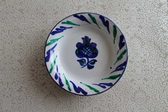 Ceramic plate painted by hand, flower, blue and white plate plate, plate decorative vintage ASD171001
