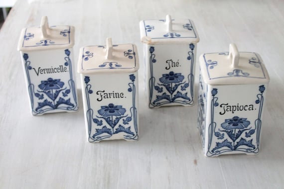Series of old boxes with white and blue ceramic ingredients, French art nouveau ceramics, kitchen storage, BOIT191895