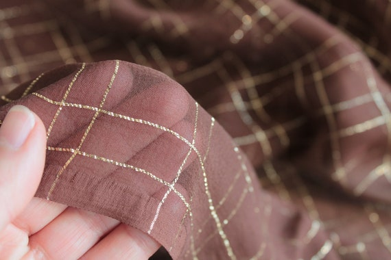 Bianchini Férier Silk Chiffon, high-end vintage silk, luxury vintage fabric, brown and gold silk, 5 x1.13 m, TIS191804