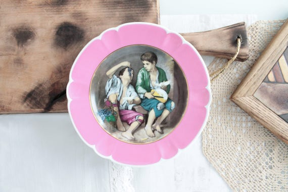 "Vintage plate from LIMOGES France  Porcelain art of pink color, Lunch of two teenage winegrowers, 25.5 cm - 10 "", 160339"
