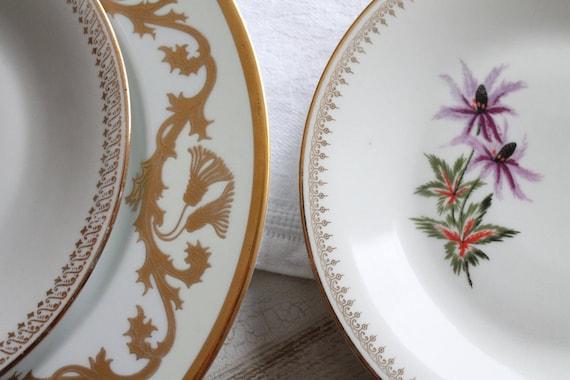 3 Porcelain plates LIMOGES France, French ceramics, Porcelain dishes, dinner service, dessert service, AST170885