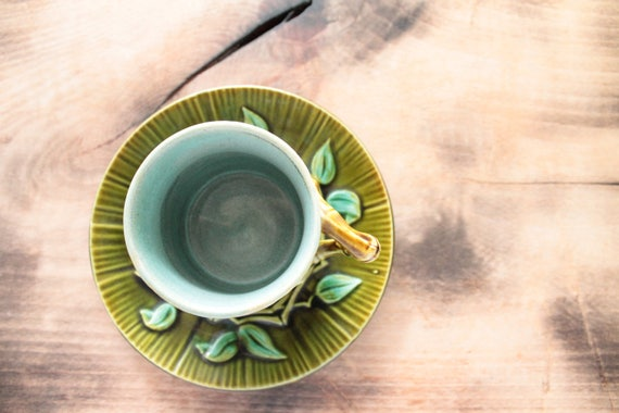 French antique cup and saucer from SALINS Barbotine / ceramic and pottery / ceramics of France / tea service