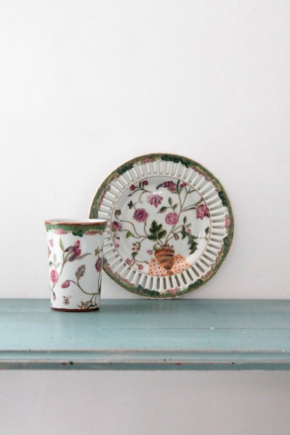 Set de salle de bains, verre à fleurs, céramique et poterie, porte savon vintage, porcelaine fleurie, CERA181653