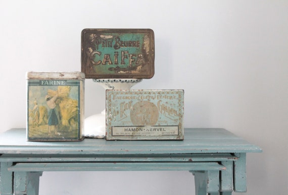 3 boxes vintage metal flour box, box pancakes Brittany box small butter Caiffa, curio cabinet, boxes, BOIT181595