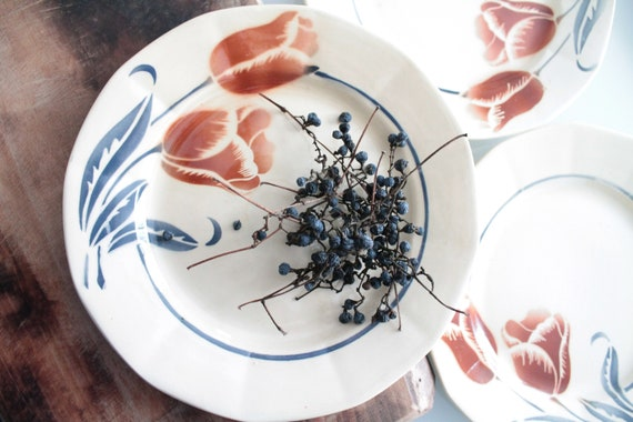 10 french vintage soup plates from Digoin, white and blue, pattern : flowers, AST181350