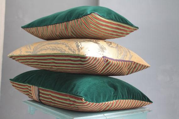Green and gold velvet cushion, bohemian chic pillow, unique cushion, gift for her, velvet upholstery, COUS191876