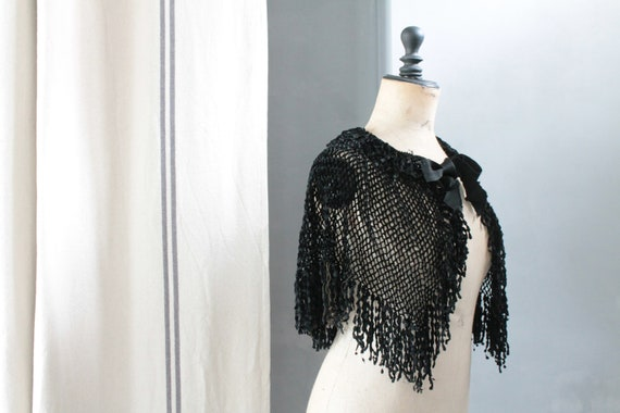 Antique black shoulder cover, black lace, black bolero, black fashion accessory,LIN191783