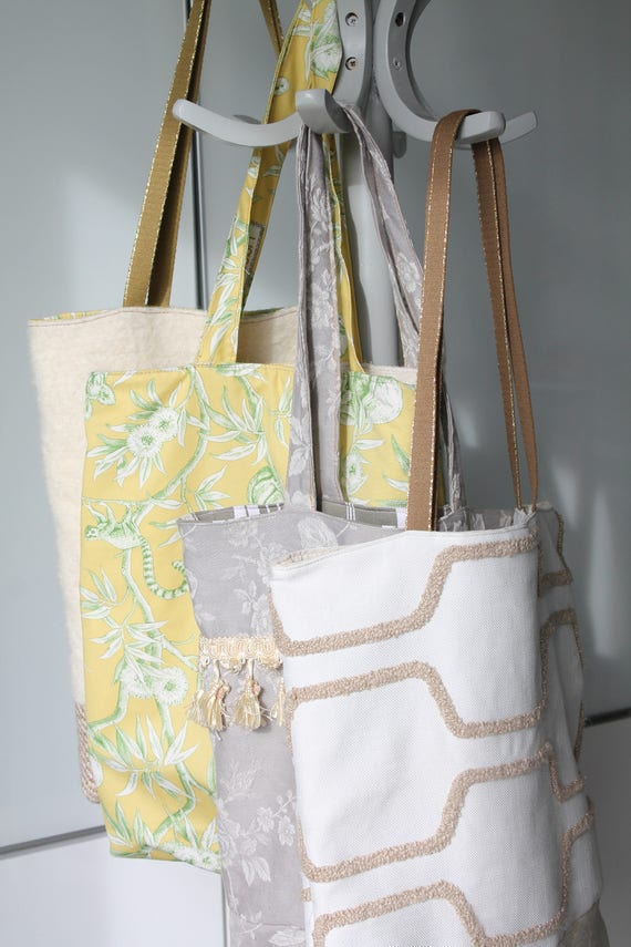 Reversible tote bag in French toile de Jouy and wool, gift for her bag carried shoulder, yellow and green reversible tote bag,