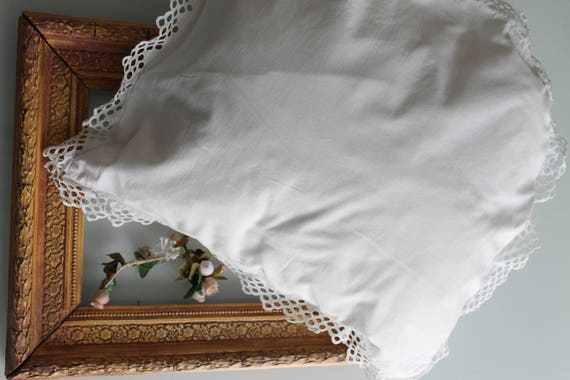 Antique, white, child's cotton pillowcase, French old linen, shabby chic decor, country chic, broderie anglaise,