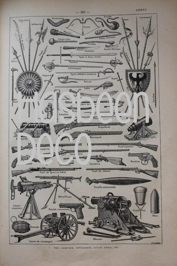 2 Illustrations françaises, armes et armures - provenant d'un Larousse ancien 1925 -Page Larousse 20X29 cm /Affiche ancienne