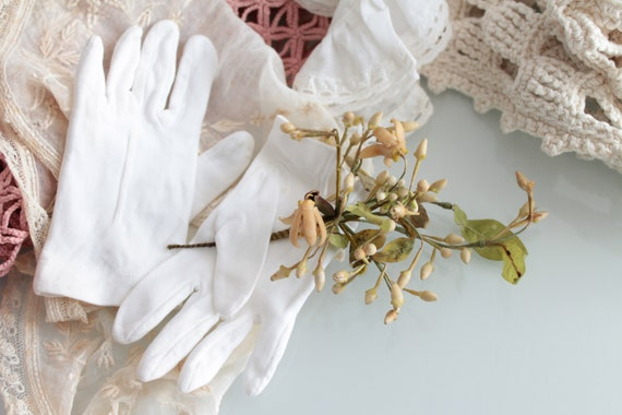 Vintage white gloves for children, for wedding, ceremony, baptism, accessories for children, glove dressed, ENF181465