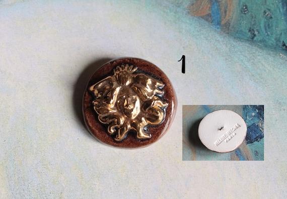 Large Button Hélène MECHIN Paris, collection button, ceramic button, enamelled button, rare button,
