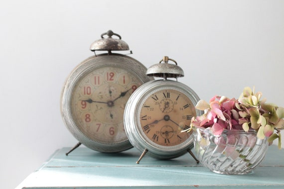 2 Great old French Comtois awakenings, old watchmaking, shabby chic,